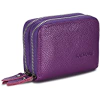 Women's Genuine Leather RFID Secured Spacious Cute Zipper Card Wallet Small Purse