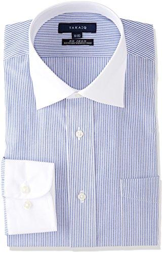 [タカキュー]TAKA-Q 形態安定 レギュラーフィット ワイドカラークレリックシャツ メンズ 青 日本 39-84 (日本サイズM相当)