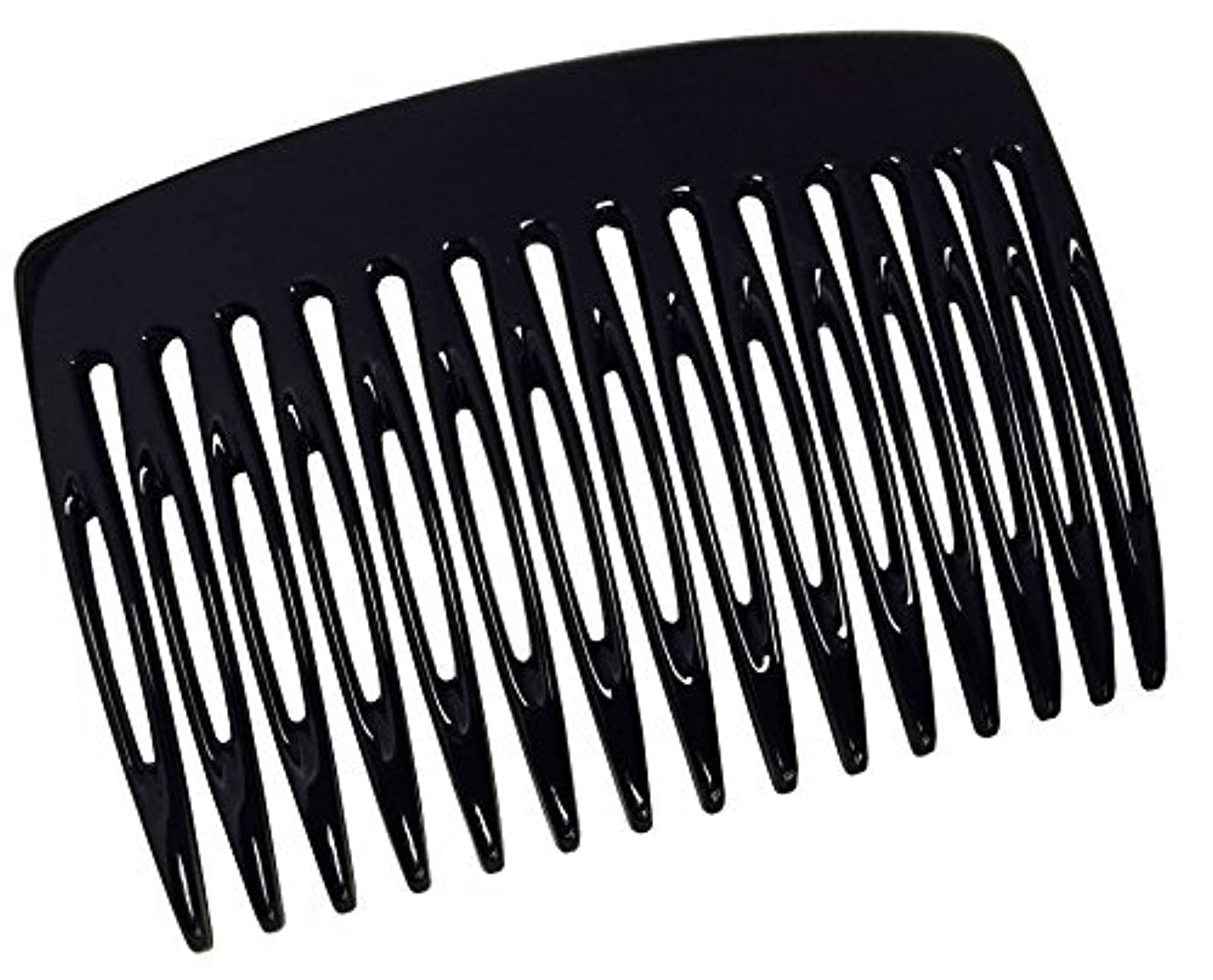 陰気ミネラル落花生Parcelona French Nice N Simple 2 Pieces Cellulose Acetate Glossy Black 7 Cm Side Hair Comb Combs [並行輸入品]