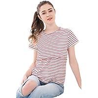 XFentech 新しい レディース マミー 夏 マタニティ 授乳服 Tシャツ ストライプ 半袖 Tシャツ 妊娠中の服 看護 トップ