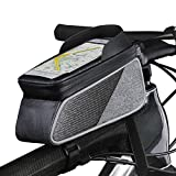 ROTTO トップチューブバッグ 自転車 フレームバッグ 防水 タッチパネル操作可能 レインカバー付き