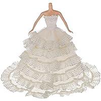 KOZEEYバービー人形 ファッション 銀 婚式王女 パーティー ドレス 服 ローブ