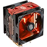 Cooler Master Hyper 212 LED Turbo CPU Cooler with 4 Continuous Direct Contact Heatpipes - two black fans with red LEDs - RR-212TR-16PR-R1