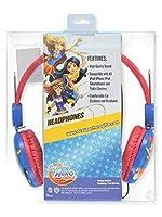 DC スーパーヒーロー 大きな女の子用ヘッドフォン - 赤/青、ワンサイズ