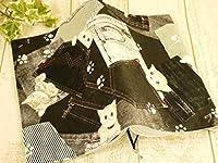 ++proud++布製ブックカバー/A5サイズ 21.1×15.0++猫柄[ポケット/黒]ゴム付き++