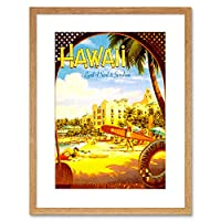 Travel Hawaii Surf Beach Sunshine Waikiki Hotel Resort Pacific Framed Wall Art Print 旅行ビーチホテルリゾートパシフィック壁