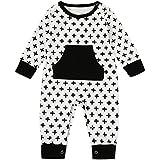 杜屋トヤ 新生児服 ベビーロンパース かわいいプリント長袖カバーオール ポケットデザイン ルームウェア 赤ちゃん プレゼント 0-18M