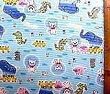 そらいろプッチオン 4点(体操服袋・給食袋・弁当袋・コップ袋)が作れる材料セット(ブルー)#2レシピ付き(ロープの色はブルーとなります)<初心者でも簡単なキャラクター生地セットです!>(キャラクター 材料キット パーツ ピロル)