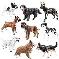 TOYMANY 9つの生き生きとした大犬フィギュア、ブルドッグやダルメシアンやドイツのマスチフなどがあります 異なる種類のハイシミュレーションの教育タイプの動物模型セット 子供用のおもちゃ 誕生日のプレゼント