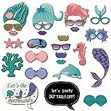Let's Be Mermaids-26カラット マーメイド写真ブース小道具 ベビーシャワー 誕生日パーティー フォトブース小道具 パーティー装飾 記念品