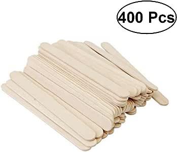 ROSENICE 木製スティック スティック棒 DIYの手工芸品 DIY木材スティック 木製アイスクリームスティック ナチュラルウッドスティック 400ピース