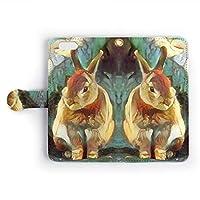 iPhone ケース 手帳型 カバー (iPhone 5 / iPhone 5s / iPhone SE) 動物 アニマル イラスト 「ART ZOO ジェミニ」 ウサギ No.2 / カード収納 ストラップホール付 スマホケース