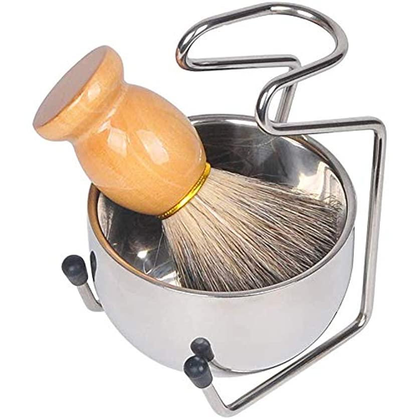 サイズセメントわな3点セット ひげブラシ シェービング石鹸ボウルシェービングブラシセット洗顔ブラシ メンズ 理容 髭剃り 泡立ち毛