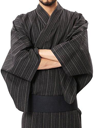 (ロシェル)roshellメンズ浴衣5点セット(浴衣帯下駄信玄袋扇子)ワンタッチ帯簡単着付けメンズ浴衣セットL灰しじら