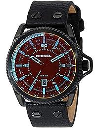 ディーゼルメンズdz1793RollcageブラックIPブラックレザー腕時計