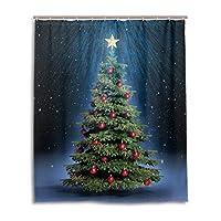 Anmumi シャワーカーテン バスカーテン 152cm クリスマス ツリー 雪柄 かわいい お風呂 目隠し リング付き 防水 浴室 ドア カーテン 間仕切り おしゃれ 防カビ 洗わえる