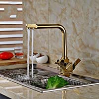 ゴールデン純水キッチン蛇口3ウェイダブル機能フィラーキッチン蛇口ミキサースリーウェイ水道水については360度スイベルフィルター