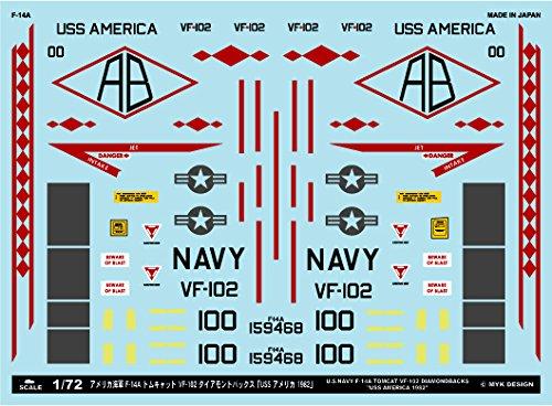 アシタのデカール 1/72 アメリカ海軍 F-14A VF-102 ダイアモンドバックス 「USSアメリカ 1982」