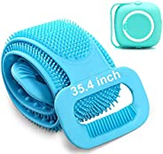 """Back Scrubber for Shower Silicone Body Scrubber body Brush with Soap Dispenser 2021 Updated Lengthen 35.4"""""""
