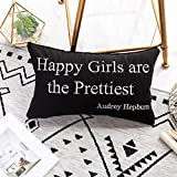 "Black White Throw Pillow Cover Decorative Embroidered Pillow Case Lumbar Cushion Cover Home Sofa Bedroom Decor Gift for Women Girls,12x20 Inch(Audrey Hepburn Maxim""Happy Girls Are the Prettiest"")"