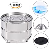 KINDEN Accessories for Instant Pot - Stackable Stainless Steel Food Steamer Insert Pans, Vegetable Steamer Basket, Silicone Egg Bites Molds, Silicone Pot Holder, 4 pcs/set for 5,6,8QT Pressure Cooker