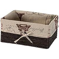 織物収納バスケット、デスクトップ雑貨収納ボックス長方形の籐製織りバスケット (色 : C, サイズ さいず : Small)