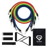 GronG(グロング) トレーニングチューブ フィットネスチューブ エクササイズバンド 強度別5本セット ハンドル/収納袋付き