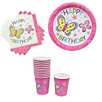 Happy Birthday Butterfly Girl Dinner Plates (18) Cups (12) Napkins (20) Package [並行輸入品]
