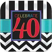 """must-haveシェブロンとストライプ40th Birthday Party Square Luncheon Platesテーブルウェア、8、マルチパック、9""""用紙"""