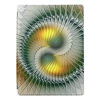 陰陽の緑の黄色の抽象芸術のカラフルのフラクタル iPad mini4 ケース タブレットケース アイパッドミニ4 背面ケース スタンド機能 iPad mini 4 ソフトケース TPUケースiPad mini4ケースかわいいipadmini4カバー