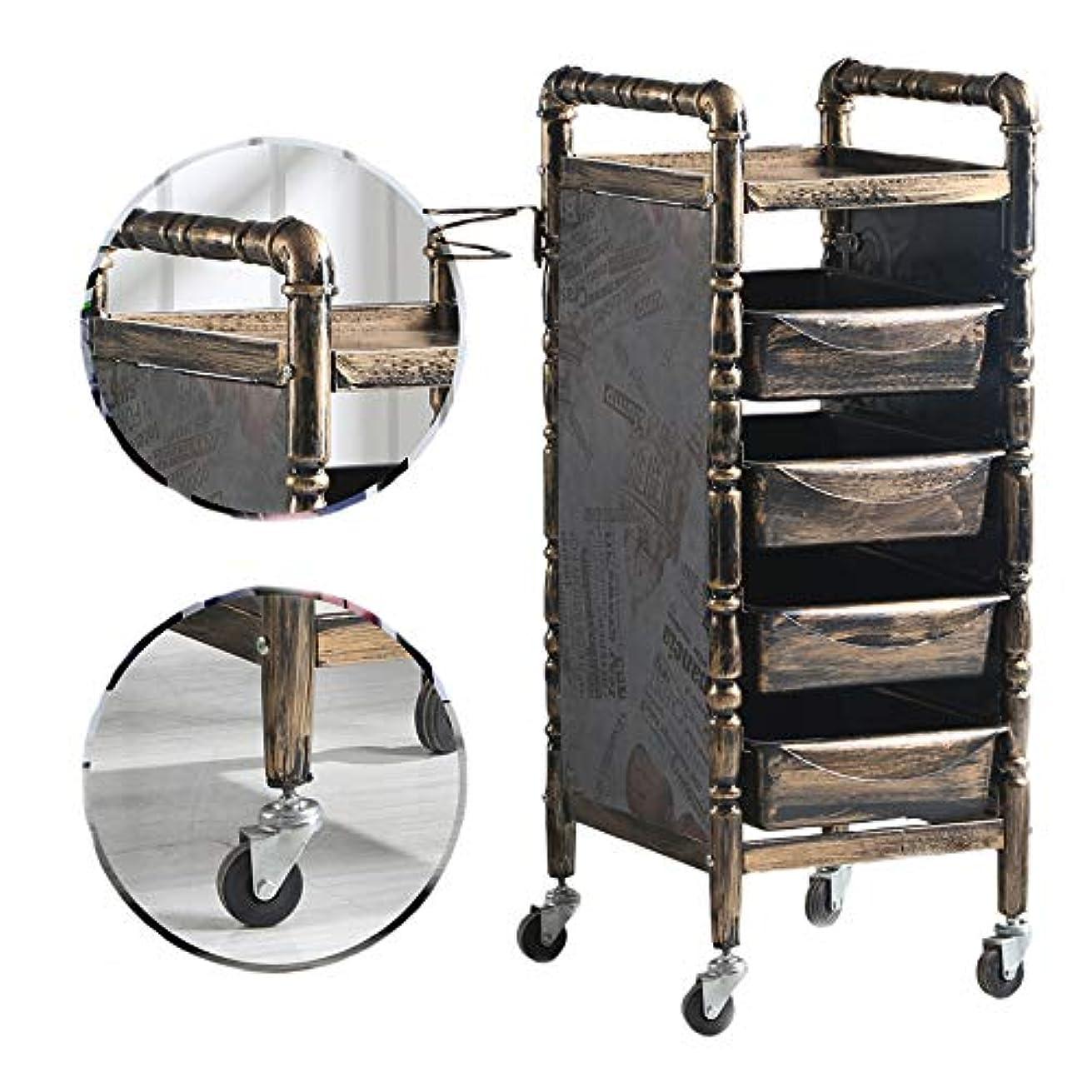 最大限適用済みメインサロンSPAトロリーレトロヘアドライヤー5つの引き出しで、ヘアドライヤーホルダーそして4ユニバーサルホイール美容院のために、バスルーム
