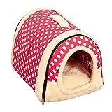 ペットハウス ドーム型 猫犬 室内用 中敷き付き 折りたたみ式 ペットベッド 5種類 S,M,Lサイズ【Justgreat】 (S 35x30x28cm, ピンク-ポルカドット)