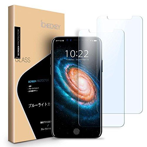 【2枚セット】iPhone X ガラスフィルム ブルーライトカット96% ICHECKEY iPhone X フィルム 2.5Dラウンドエ...