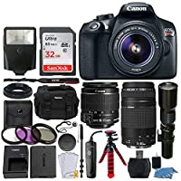 Canon EOS Rebel T6 DSLR 18MP Camera + EF-S 18-55mm IS II Lens + 75-300mm & 500mm Telephoto Lens + Filter Kit + 32GB Memory Card + Gadget Bag + Slave Flash + Wired Remote ? Complete Accessory Bundle [並行輸入品]