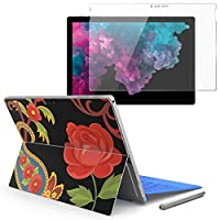 Surface pro6 pro2017 pro4 専用スキンシール ガラスフィルム セット 液晶保護 フィルム ステッカー アクセサリー 保護 フラワー 花 フラワー カラフル 003721