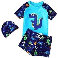 BANGELY Kid Boy Anchor Print Short Sleeve Rash Guard Swimsuit Set UV Protection Swimwear