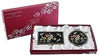 母のパールコンパクトミラービジネスクレジット名前カードホルダーセットステンレススチールCherry Blossoms Flowerデザイン