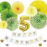 5歳バースデー デコレーションバルーンセット グリーン 誕生日 豪華 飾り付け 数字風船 ペーパーファン ガーランド お祝い パーティー