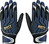 ZETT(ゼット) バッティンググローブ 両手 インパクトゼット L(26~27cm) BG999 ネイビー×シルバー(2913) 野球