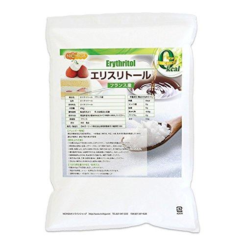 フランス産 エリスリトール4kg 遺伝子組み換え材料不使用 カロリーゼロ 希少糖 糖質制限 天然甘味料 砂糖代替甘味料 NICHIGA(ニチガ)