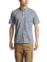 Flower Pattern Short Sleeve Butttondown Shirt 1216-163-1783: Royal