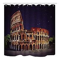 Assanu イタリア、ヨーロッパのコロッセオの建物とランドマークの星空、模様のある装飾、部屋の装飾、掃除が簡単なシャワーカーテン、バスルーム、バスルーム、ホテルのカーテンに適しています