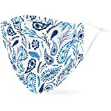 Weddingstar Washable Cloth Face Mask Reusable and Adjustable Protective Fabric Face Cover w/Dust Filter Pocket - Blue Paisley
