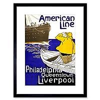 Travel Transport American Line Ship Liverpool Vintage Framed Wall Art Print