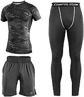 Niksa コンプレッションウェア メンズ スポーツ ウェア 長袖/半袖 吸汗 速乾 加圧 保護 高弾力 防臭 姿勢矯正 ラウンドネック 3点セット/4点 セット