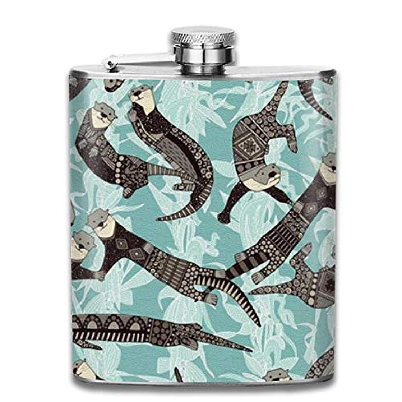防衛復讐ドキュメンタリーカワウソ フラスコ スキットル ヒップフラスコ 7オンス 206ml 高品質ステンレス製 ウイスキー アルコール 清酒 携帯 ボトル