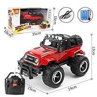 Mopoq 大型リモコン車SUV LED照明充電落下制御リモコン車の子供のおもちゃの男の子のおもちゃの車の電気ドリフト車 (Color : 赤, Size : Battery 1)