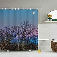 Trees Sky Moon Branchesシャワーカーテンバスカーテンお風呂カーテン間仕切りHDデジタル印刷防水防カビ取付簡単165/180/200×180cm