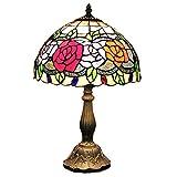赤黄色バラ柄花柄傘型ステンドグラスランプ12インチ彩色電灯火屋手描き手作り
