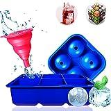 Fanoshon 丸氷 製氷皿セット高級シリコン製 4個大ボール製氷器と6個四角氷アイスモールドとロート アイストレイ チョコレート型 キャンディ型 ウイスキー用の氷型